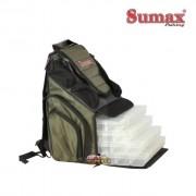Bolsa de Pesca Mochila Sumax SM-805-4 Fishing Bag com 4 estojos - Verde
