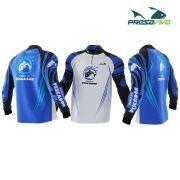 Camisa Presa Viva Sonho de Pescador Branca/Azul - Dry Favo Micro Geração 2 - FPS 25