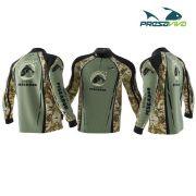 Camisa Presa Viva Sonho de Pescador Camuflado Verde - Dry Favo Micro Geração 2 - FPS 25