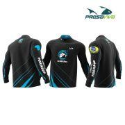 Camisa Presa Viva Sonho de Pescador Preto/Azul - Dry Favo Micro Geração 2 - FPS 25