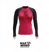 Camiseta Feminina Mar Negro Fishing Poliamida c/ Manga Colorida - Rosa/Preto Ref. 49280