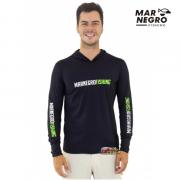 Camiseta Mar Negro Fishing  Masculina C/ Capuz 2020 - Preto  Ref. 30115