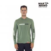 Camiseta Mar Negro Fishing  Masculina C/ Capuz 2020 - Verde Musgo  Ref. 30115