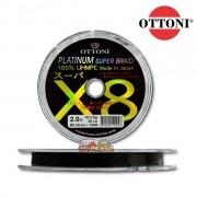 Linha multifilamento Ottoni Platinum Super Braid X8 100% UHMPE - Verde 100m