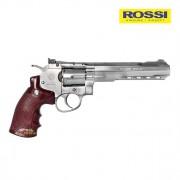 Revolver de Pressão Rossi Wingun Gás WG Cromado W702S 6POL CO2 Esferas aço 4,5mm