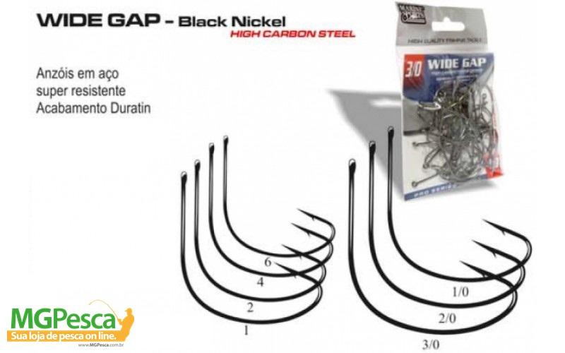 Anzol Marine Sports Wide Gap - Tamanhos 1/0 - 2/0 - 3/0 - com 40 unidades  - MGPesca