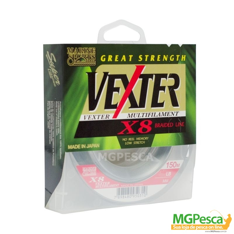 Linha Multifilamento Vexter X8 - 20LB - 0,19mm - 150m Verde Marine Sports  - MGPesca