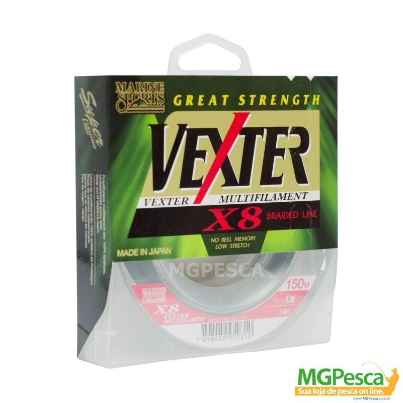 Linha Multifilamento Vexter X8 - 40LB - 0,29mm - 150m Verde Marine Sports  - MGPesca