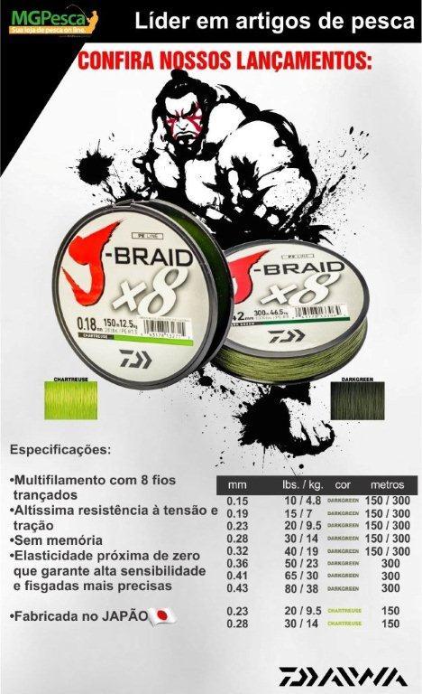 Linha Multifilamento Daiwa J-Braid X8 300m  - MGPesca