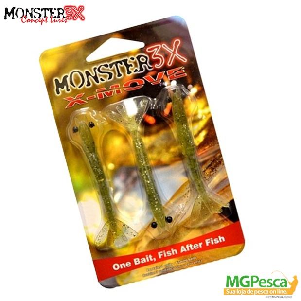 Isca Artificial Monster 3X Camarão X-Move 90 - 9cm  - MGPesca