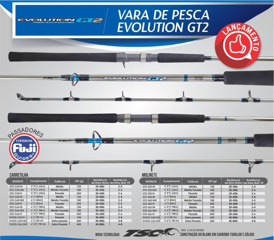 "Vara para carretilha Marine Sports Evolution GT2 6"" (1,83m) 60 Lbs - GT2-C601H  - MGPesca"