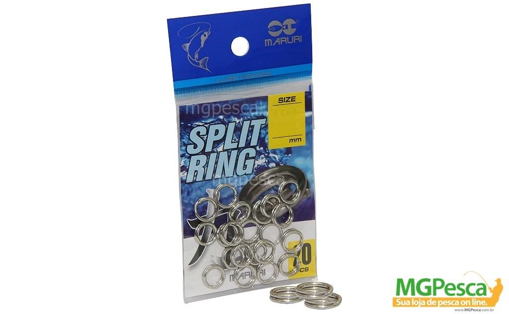 Argola Split Ring Maruri Reforçado - 7 Tamanhos - Embalagem com 20 unidades  - MGPesca