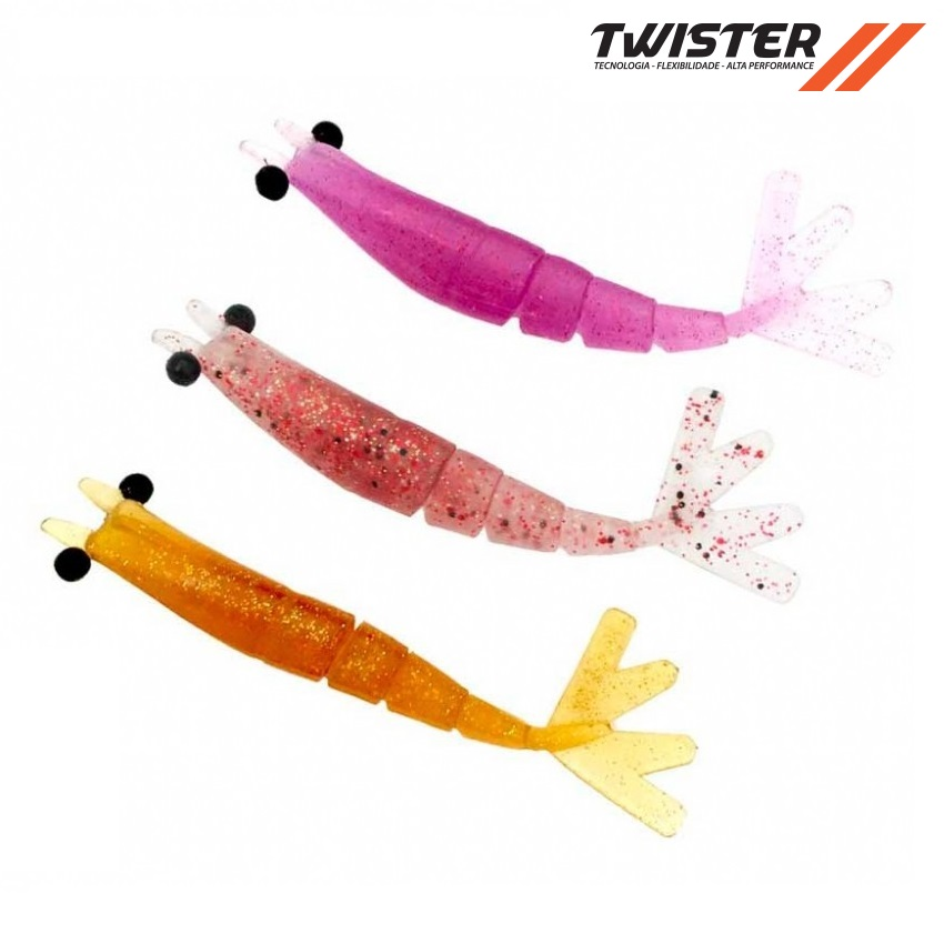 Isca Artificial Big Ones Camarão Soft Twister 10 cm  - MGPesca