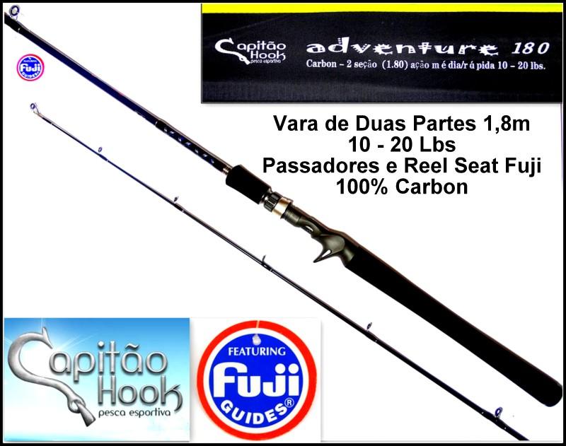 """Vara para carretilha Capitão Hook Adventure 180 - 6"""" (1,83m) 20 Lbs - 02 partes  - MGPesca"""