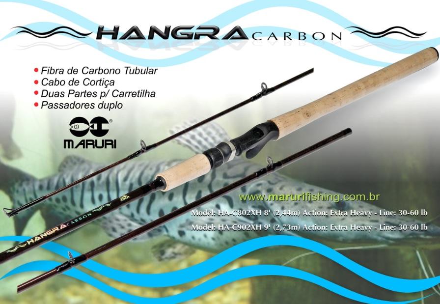 "Vara para carretilha Maruri Hangra Carbon 8"" (2,44m) 40 Lbs - HA-C802H - 02 partes  - MGPesca"