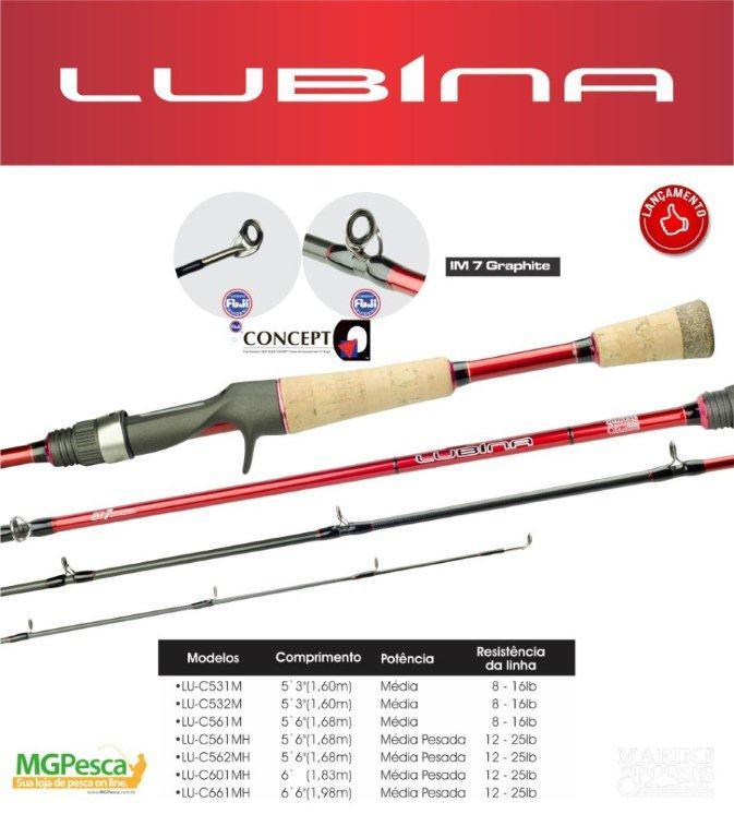 "Vara para carretilha Marine Sports New Lubina 6"" (1,83m) 25 Lbs - Cabo de Cortiça - LU-C602MH - 02 partes  - MGPesca"