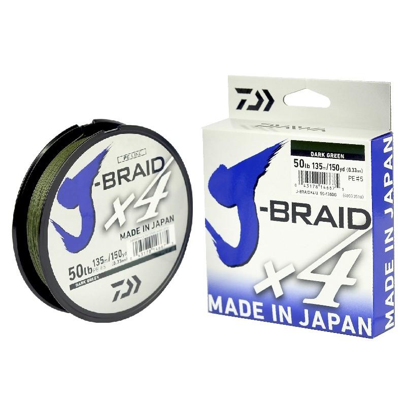 Linha Multifilamento Daiwa J-Braid X4U 135m (150Yds) - Verde  - MGPesca
