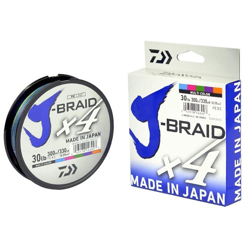 Linha Multifilamento Daiwa J-Braid X4U 300m (330Yds) - Multicolor  - MGPesca