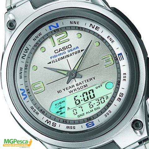 Relógio Casio Fishing gear - PESCA E FASES DA LUA - Pulseira de aço com mostrador prata - AW-82D  - MGPesca