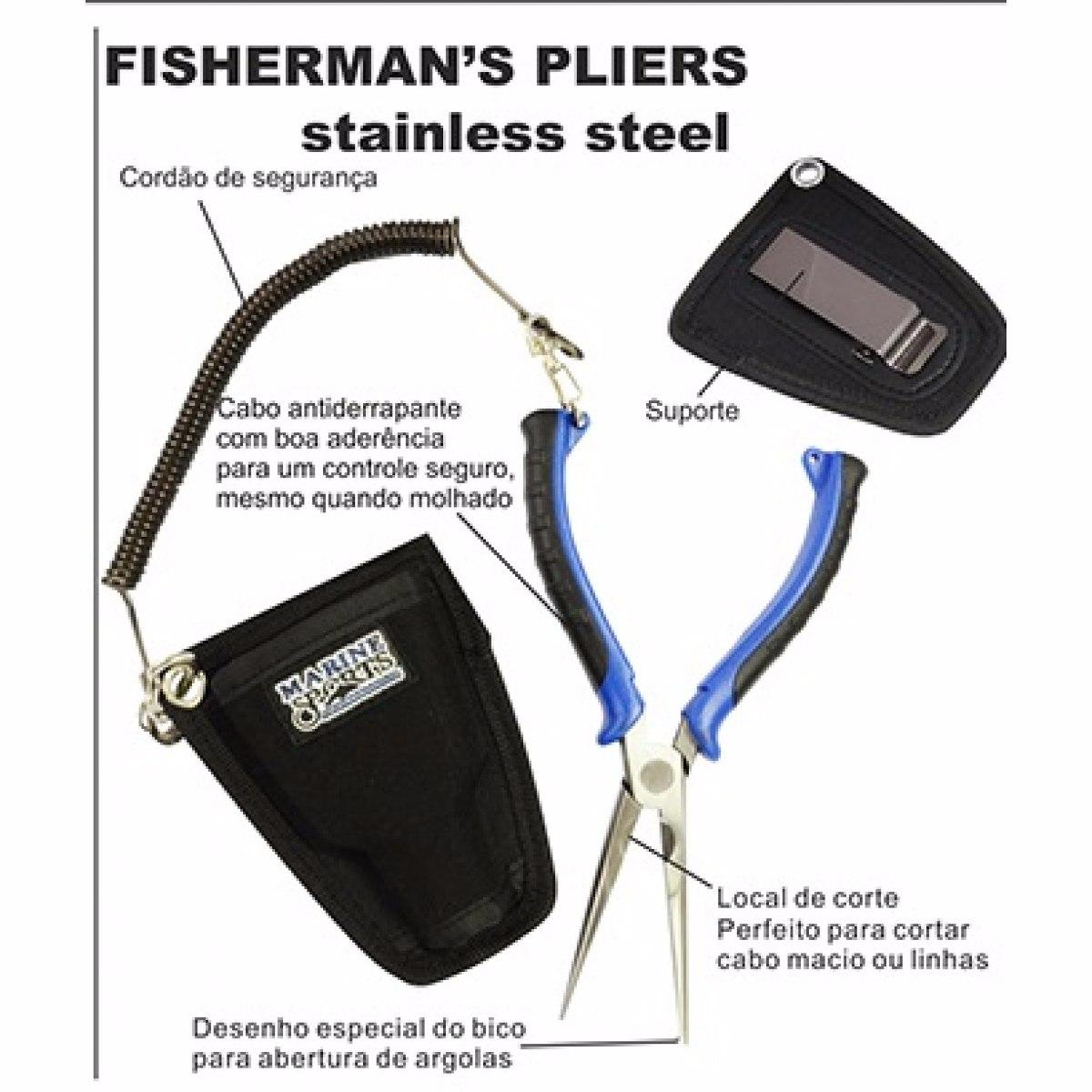 Alicate Marine Sports Fishermans Pliers MS-SRP - Combo c/ bainha e cordão salva varas  - MGPesca