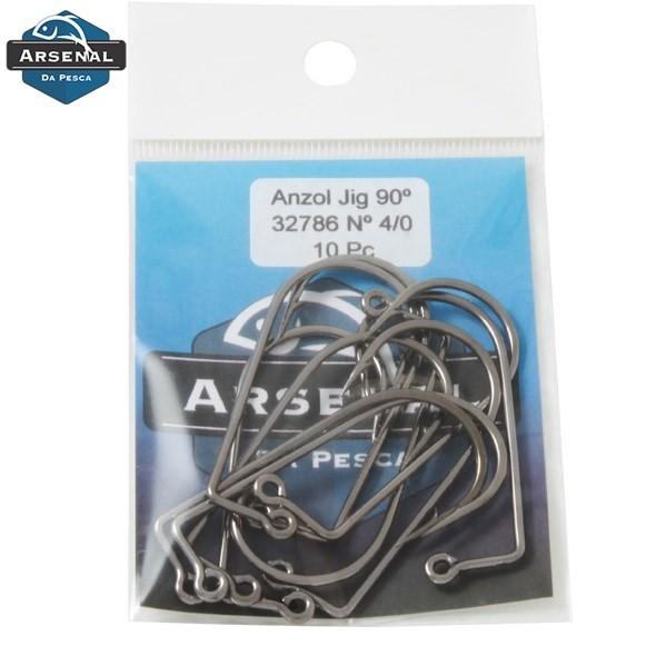 Anzol Arsenal da Pesca 32786 Jig 90º Black Nickel - 10 unidades  - MGPesca