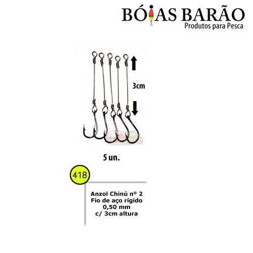 Anzol Encastoado Chinu Boias Barão - Com Fio de Aço Rígido