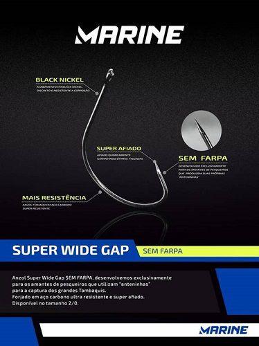 Anzol Marine Sports Super Wide Gap 2/0 - Sem Farpa  - MGPesca