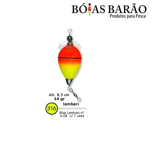 Boia Barão Lambari Nº 6-EB - 01 unidade Nº 316  - MGPesca