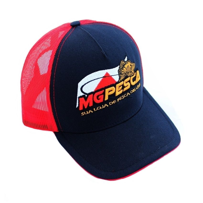 Boné MGPESCA 02 - Frontal preto - Tela vermelha - Aba preta  - MGPesca