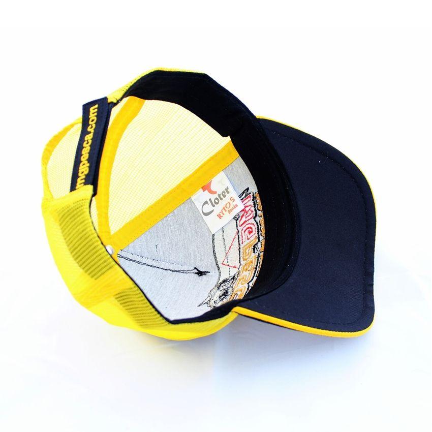 Boné MGPESCA 03 - Frontal preto - Tela amarela - Aba preta  - MGPesca