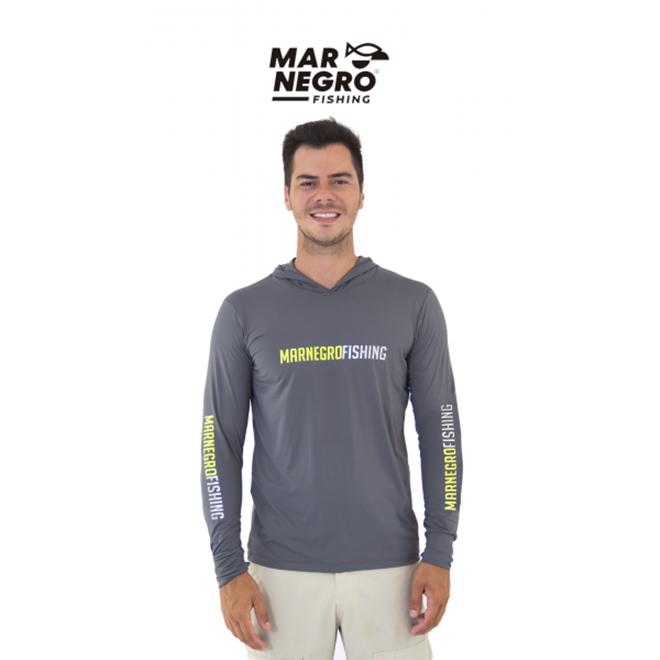 Camiseta Mar Negro Fishing  Masculina C/ Capuz 2020 - Chumbo  Ref. 30115  - MGPesca