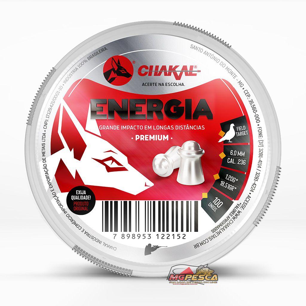 Chumbinho Chakal Energia Premium 6,0mm - Latinha c/ 100 unidades  - MGPesca