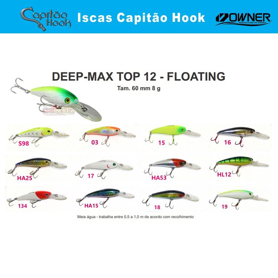 Isca Artificial Capitão Hook TOP 12 Deep Max - 6cm  - MGPesca