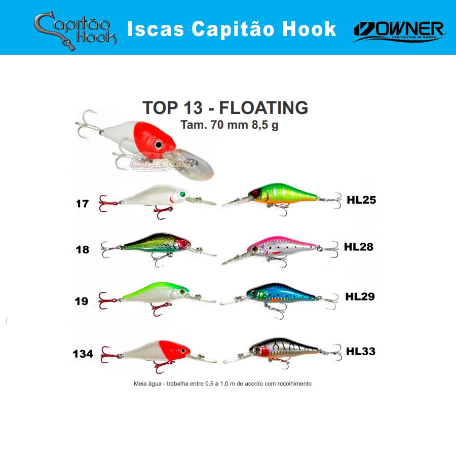 Isca Artificial Capitão Hook TOP 13 - 7cm  - MGPesca