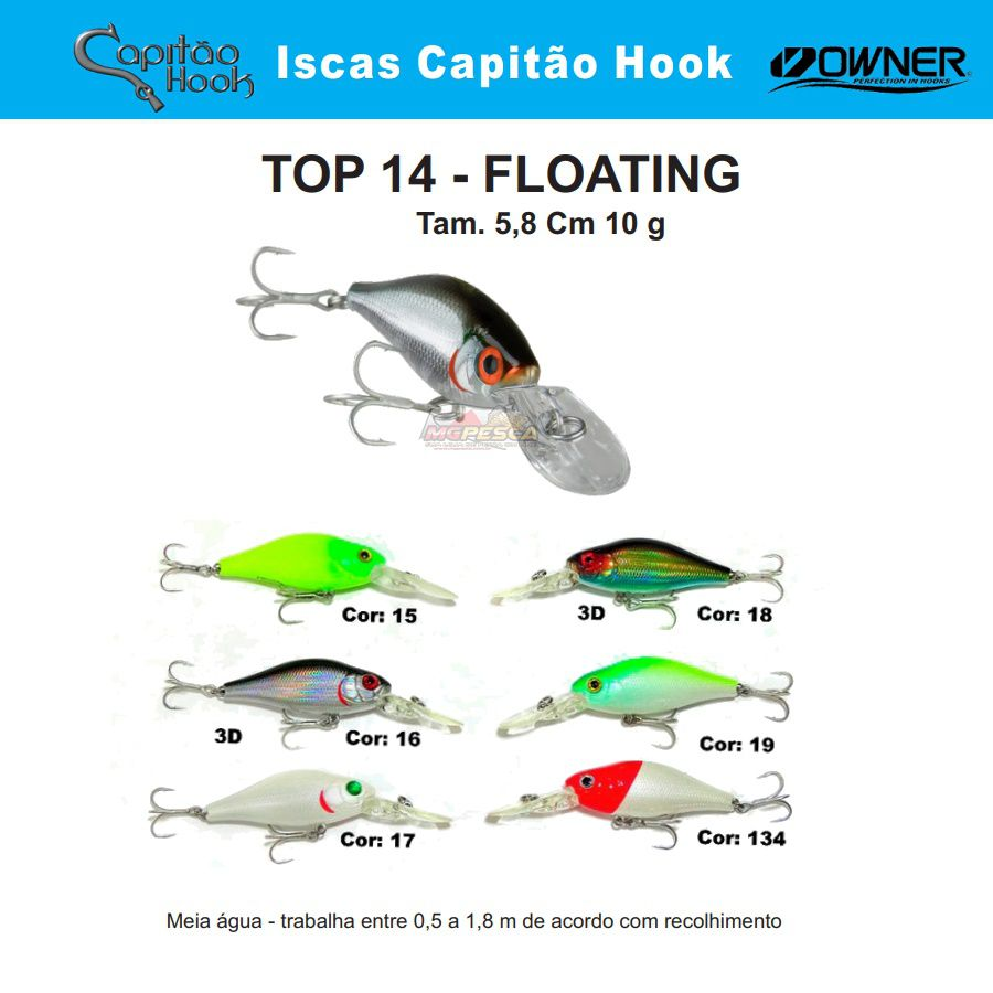 Isca Artificial Capitão Hook TOP 14 - 5,8cm  - MGPesca
