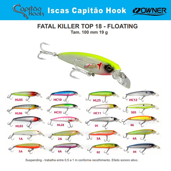 Isca Artificial Capitão Hook TOP 18 Fatal Killer - 10cm - MGPesca