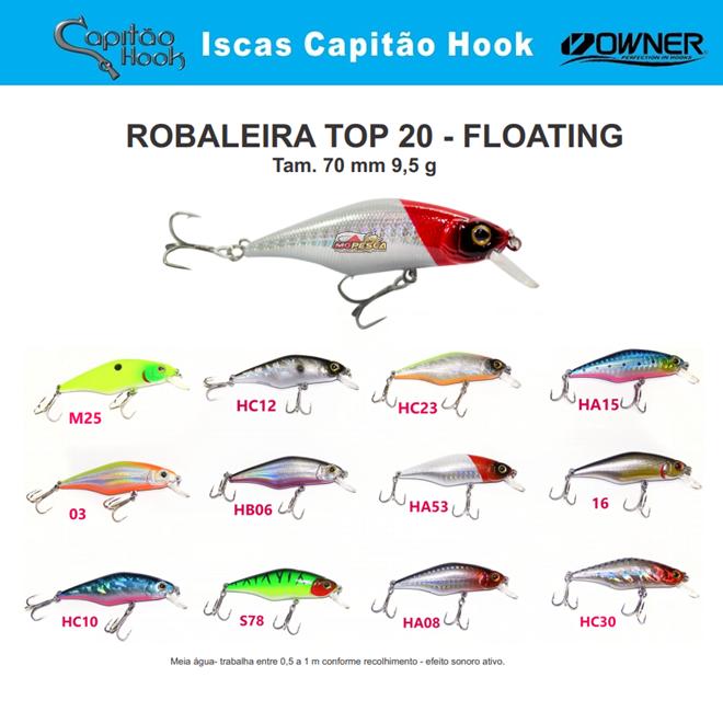 Isca Artificial Capitão Hook TOP 20 Robaleira - 7cm  - MGPesca