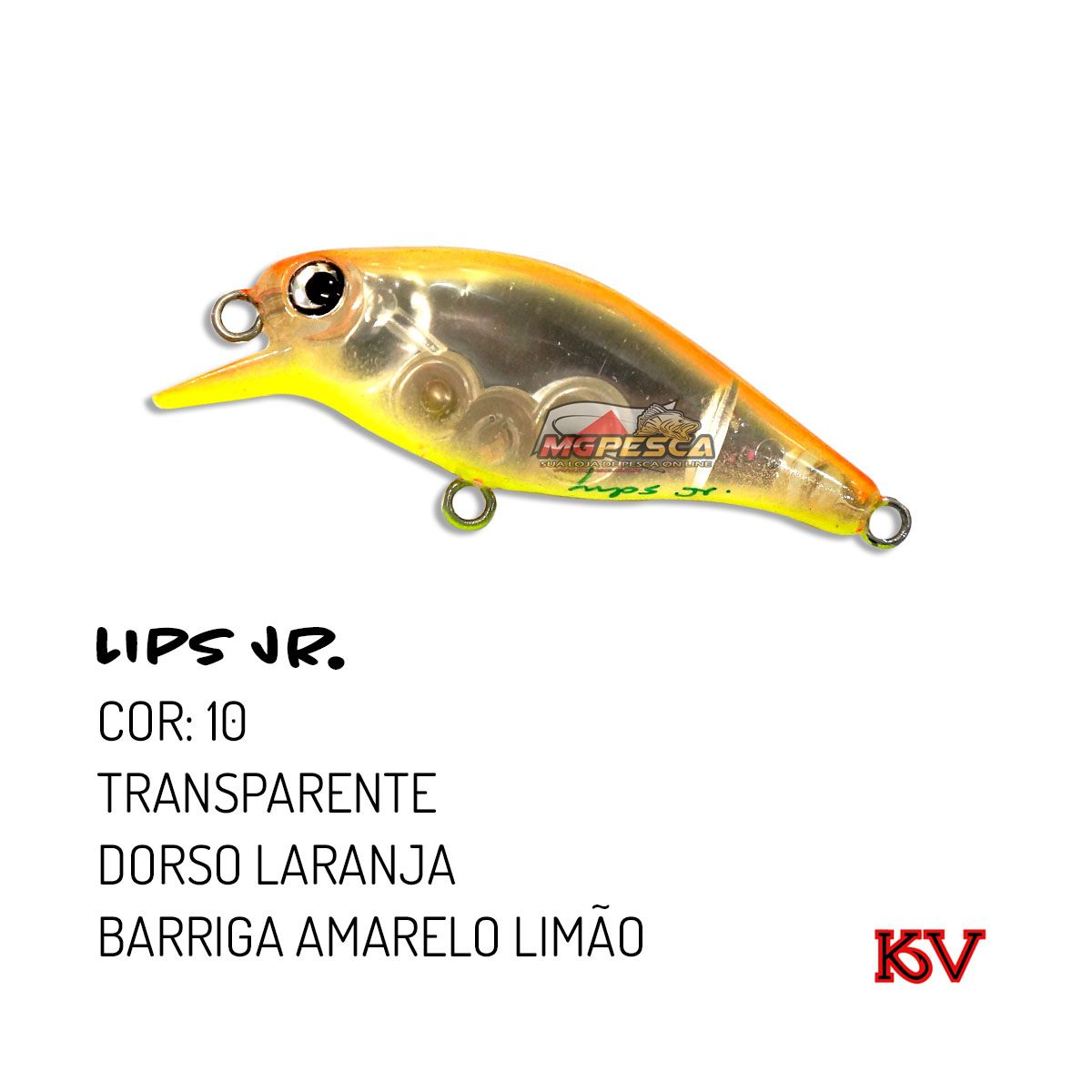 Isca Artificial KV Lips Jr Meia Água 58 - 5,5g  - MGPesca