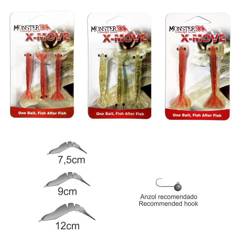 Isca Artificial Monster 3X Camarão X-Move 70 - 7cm - MGPesca