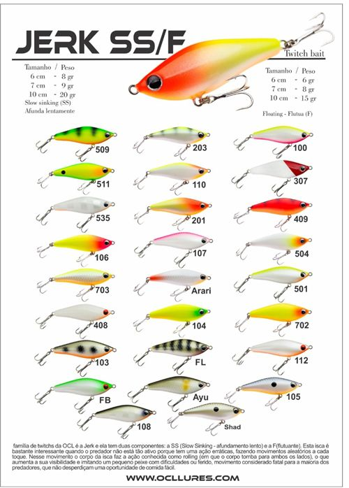 Isca Artificial OCL Lures Jerk F 60  - MGPesca