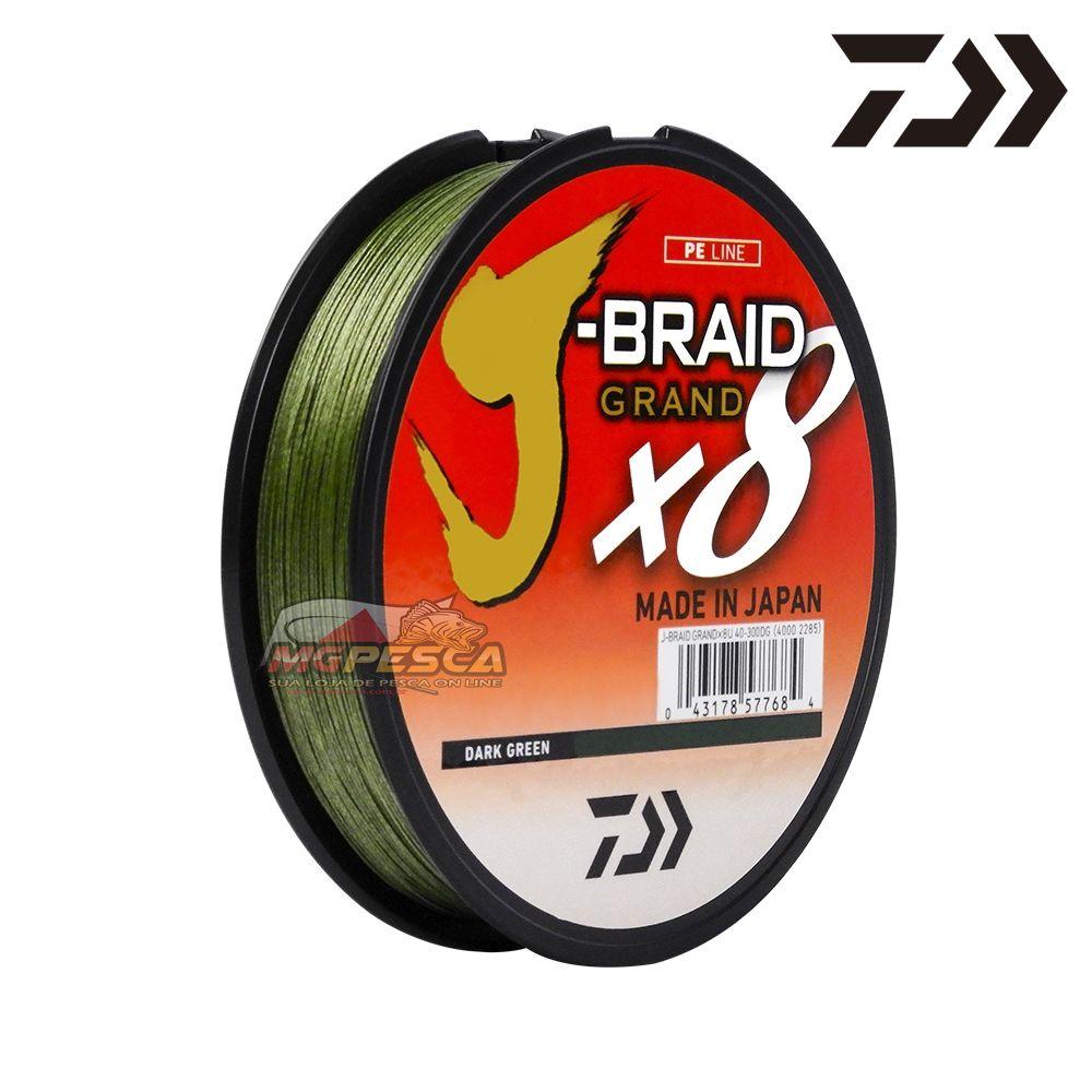 Linha Multifilamento Daiwa J-Braid Grand X8 300yd - 270m Dark Green  - MGPesca