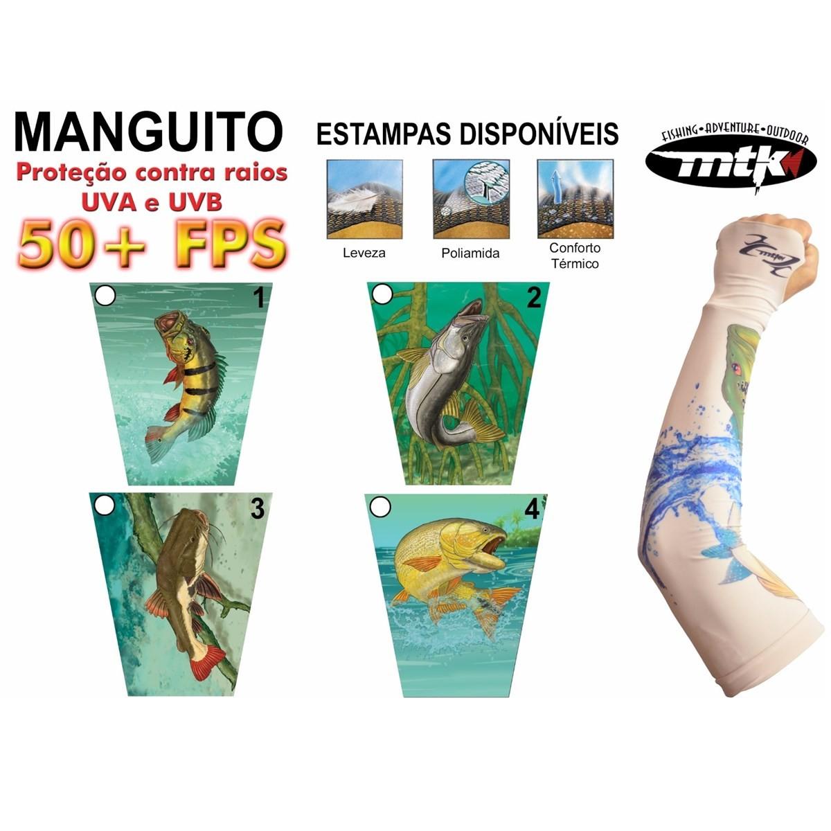 Manga de Proteção Solar Manguito MTK - 04 estampas -Tamanho G  - MGPesca