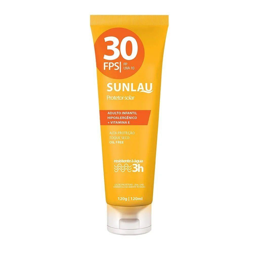 Protetor solar Sunlau antienvelhecimento com hidratante FPS 30 UVA/UVB com vitamina E 120 g - Adulto e Infantil  - MGPesca