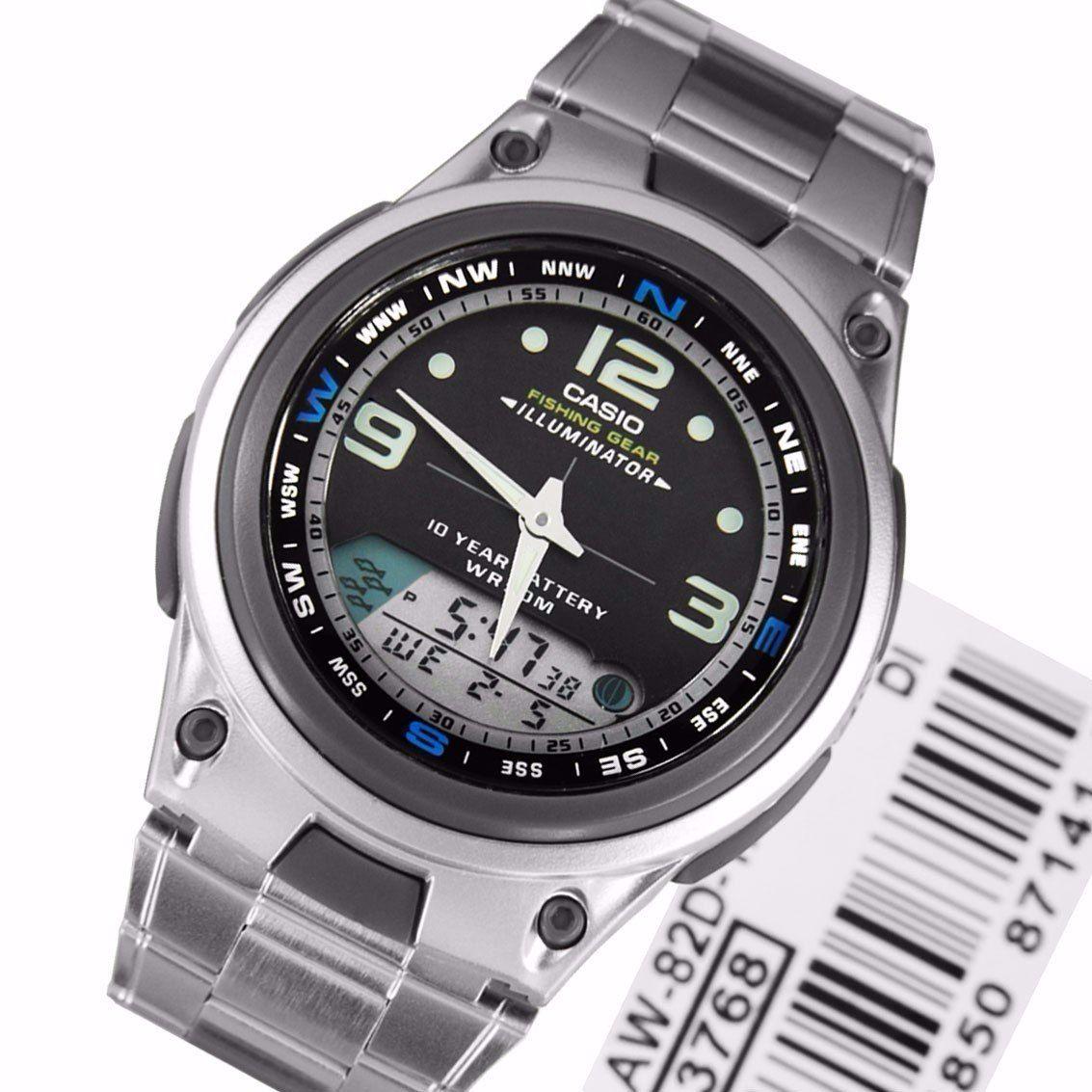 Relógio Casio Fishing gear - PESCA E FASES DA LUA - Pulseira de aço com mostrador preto - AW-82D  - MGPesca