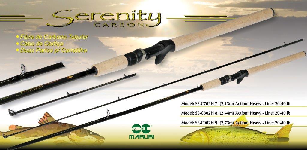 "Vara para carretilha Maruri Serenity 9"" (2,73m) 60 Lbs - SE-C902XH - 02 partes  - MGPesca"
