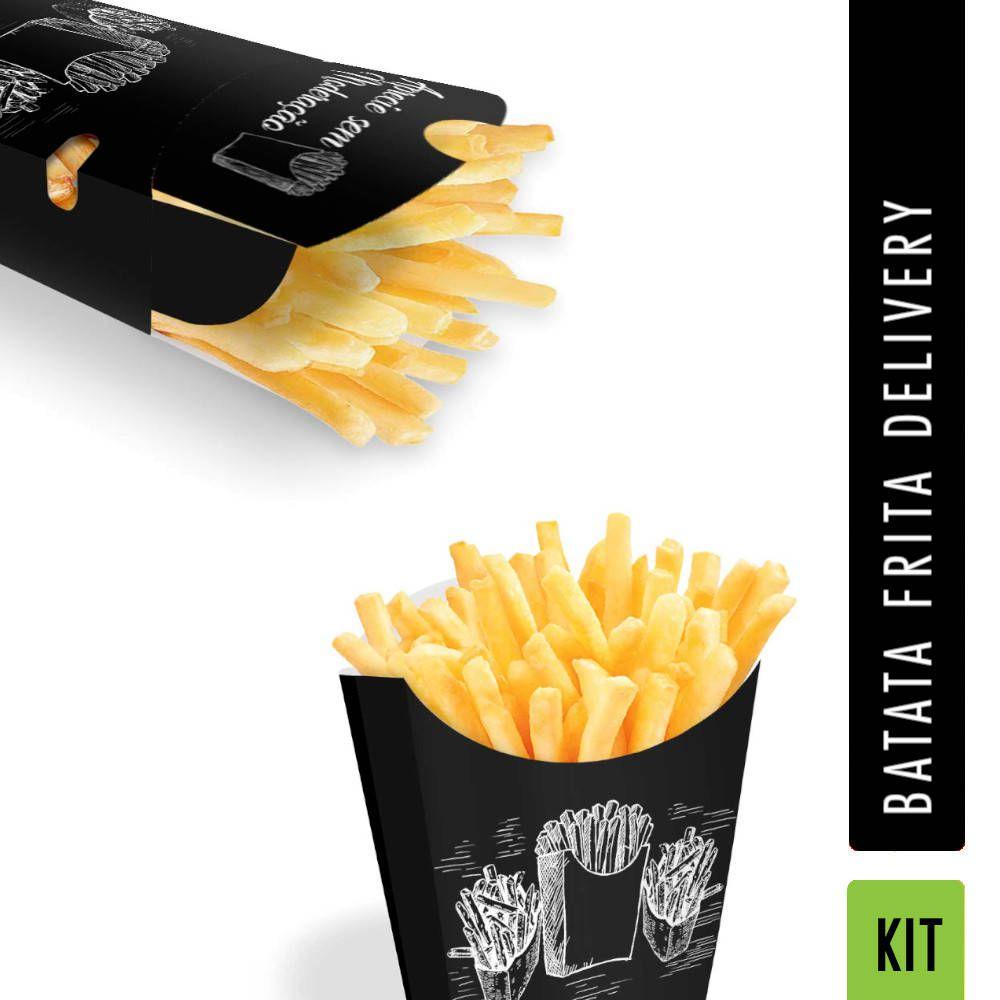 KIT 100 Caixas pra Batata Frita + 200 Caixas pra Delivery Batata Frita