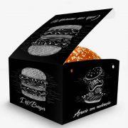 Box | Embalagem para Hambúrguer Artesanal G PRETO - 1000 unidades