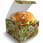 Box | Embalagem para Hambúrguer Delivery GG VERDE - 100 unidades