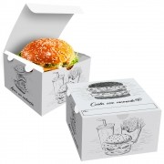 Box | Embalagem para Hambúrguer Gourmet P BRANCO E PRETO - 100 Unidades