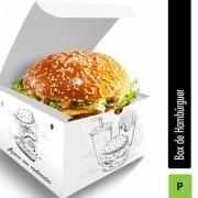 Box | Embalagem para Hambúrguer PEQUENO BRANCO E PRETO - 500 Unidades